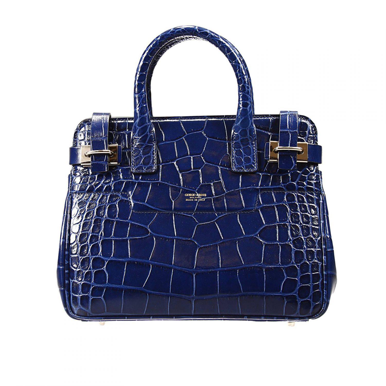 e1b80dca60aa Lyst - Giorgio Armani Handbag Bag Dakar Small Print Croco Print in Blue