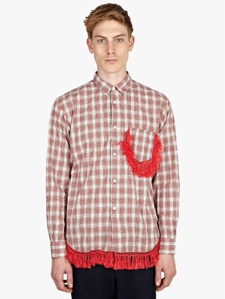 Comme des gar ons mens fancy fringe check shirt in red for for Mens shirt with tassels