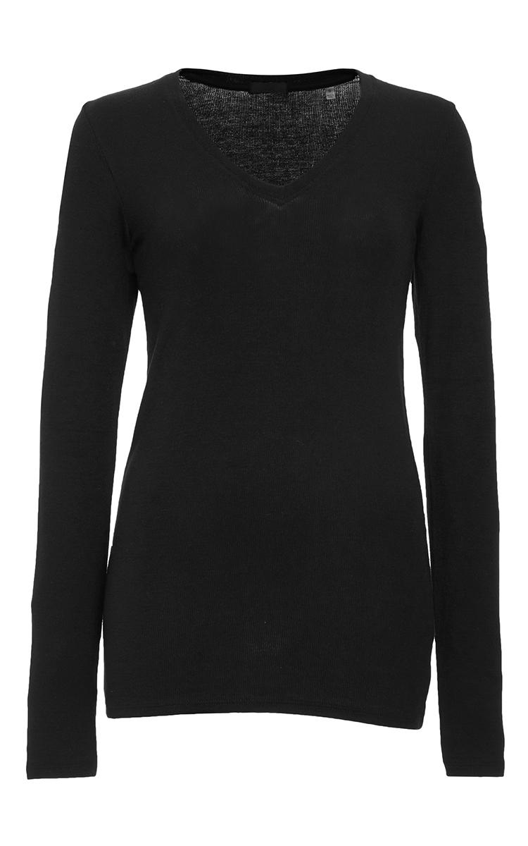 Atm black long sleeve v neck rib shirt in black lyst for Ribbed long sleeve shirt