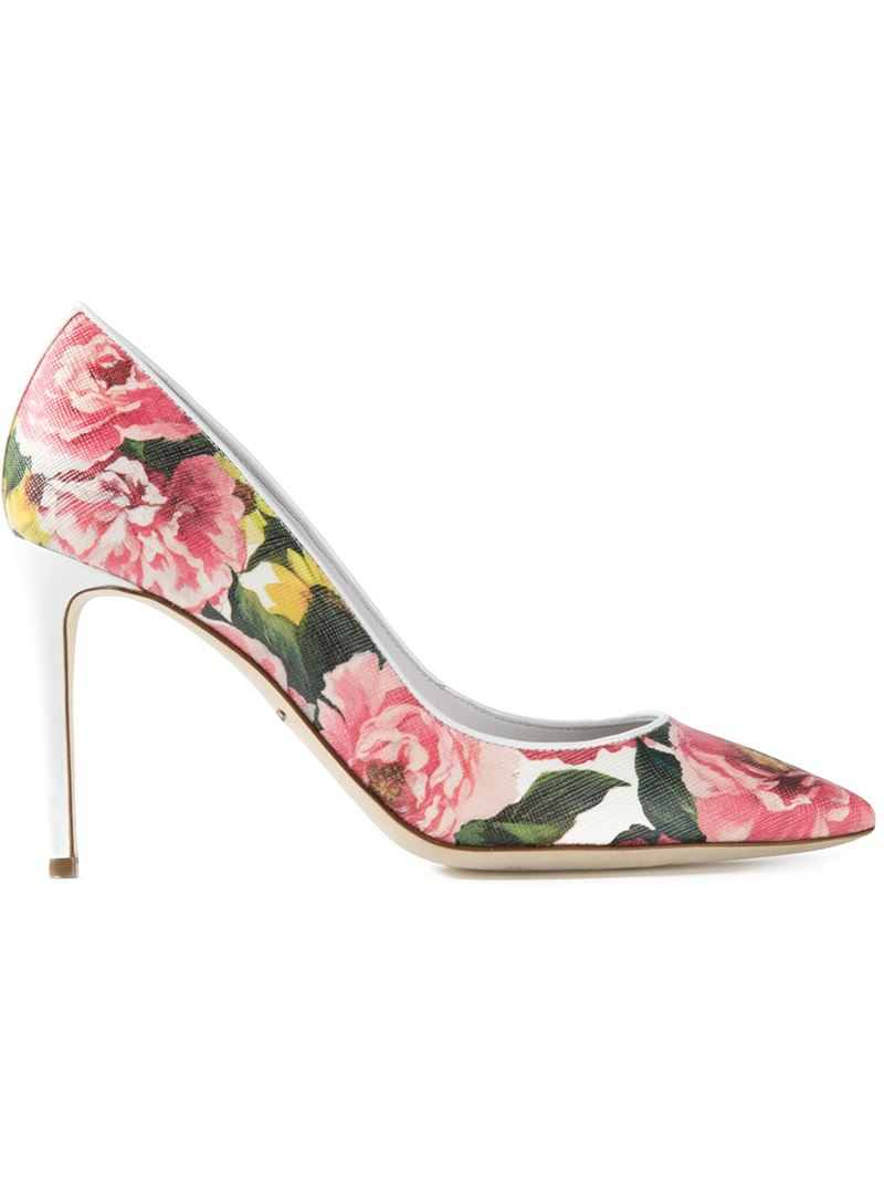 Dolce And Gabbana Floral Leather Court Shoes