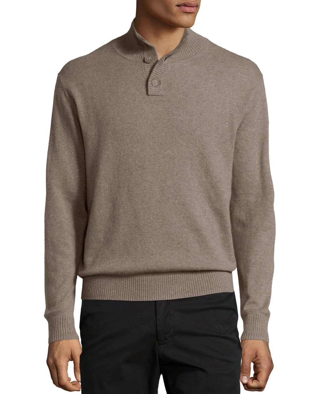 lyst neiman marcus cashmere quarter button pullover sweater in natural for men. Black Bedroom Furniture Sets. Home Design Ideas