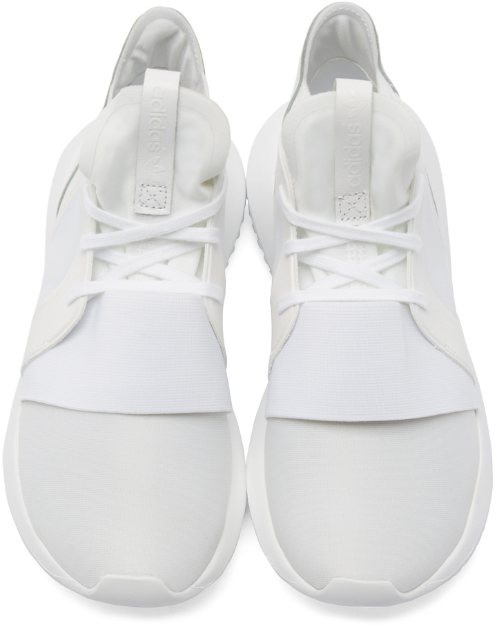 The adidas Tubular Defiant Goes All White Shoe MGK