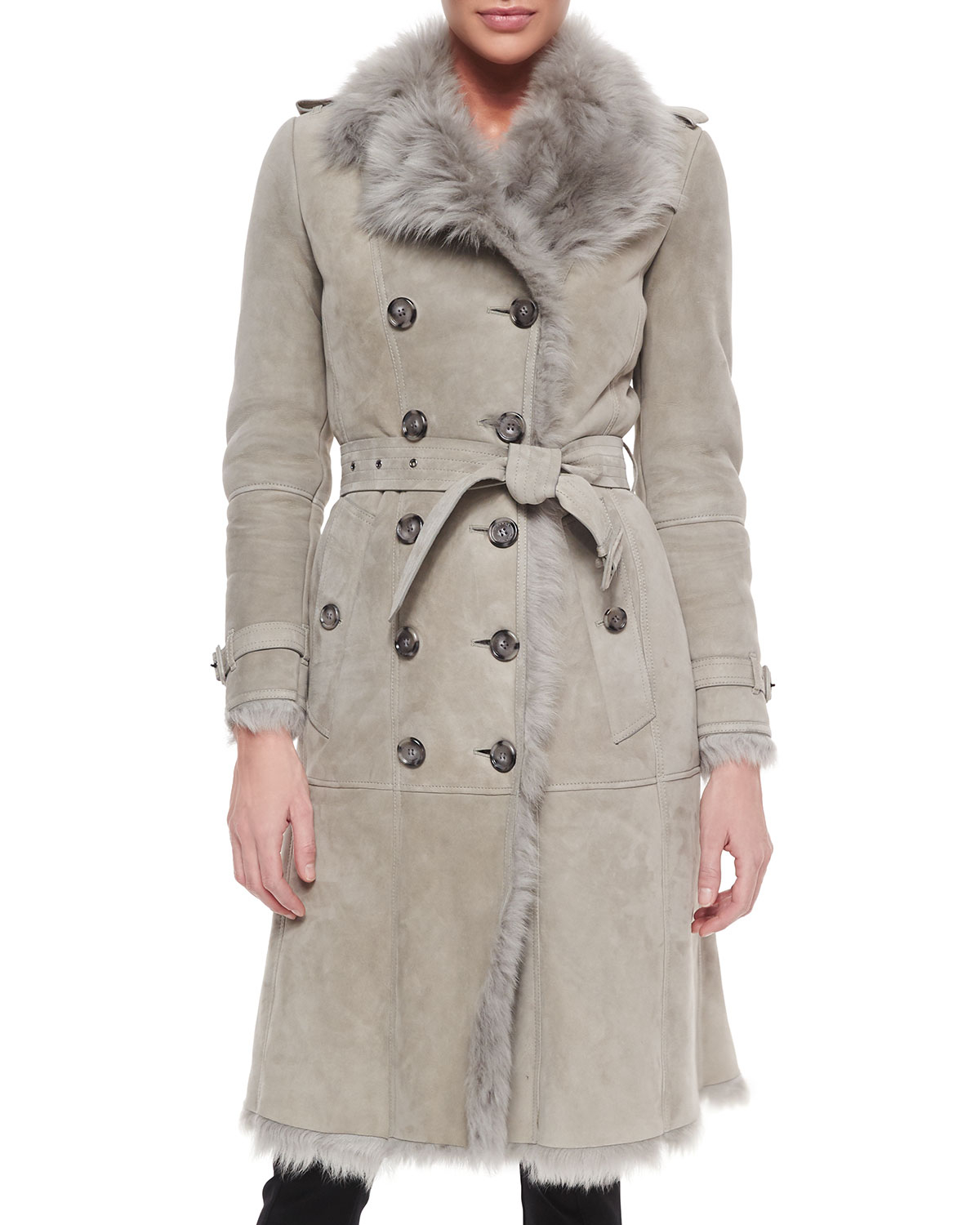 b340b83ec2a8 In Trench Lyst Shearling Double Burberry Gray Breasted Coat YwYCfqz