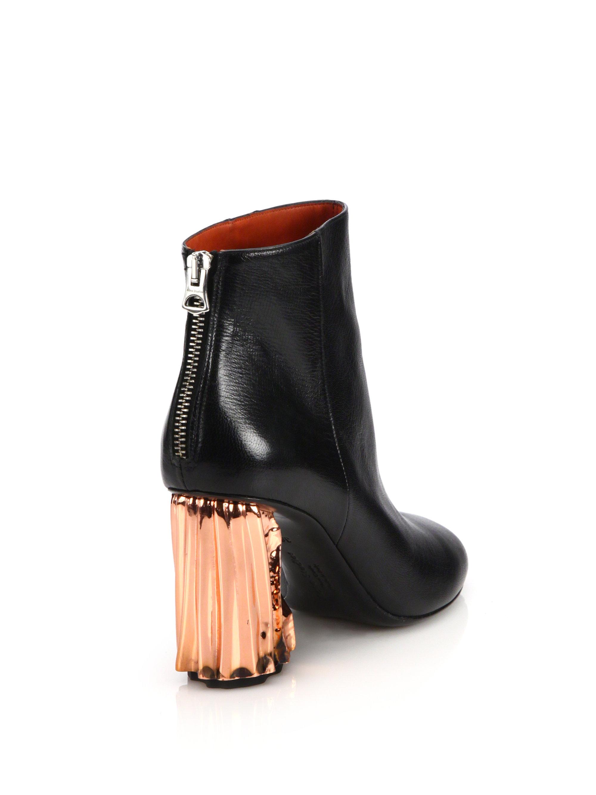 aa16a4a48da Lyst - Acne Studios Ora Palm Leather Metal-heel Booties in Black