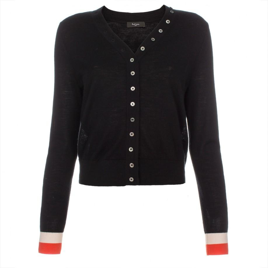 Paul smith Women's Black Cashmere Cardigan With Contrasting Cuffs ...
