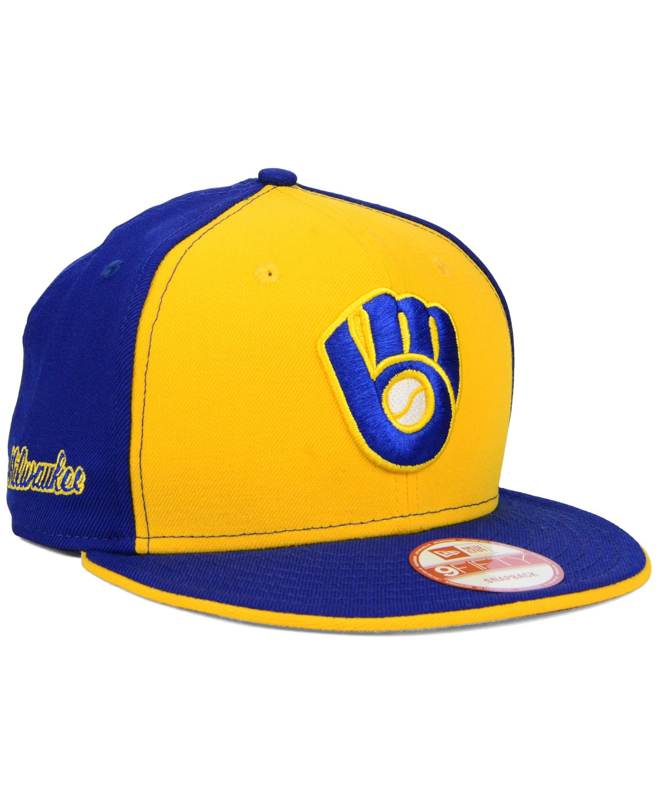buy popular 54908 3b7b2 KTZ Milwaukee Brewers Coop Flip 9fifty Snapback Cap in Yellow for ...