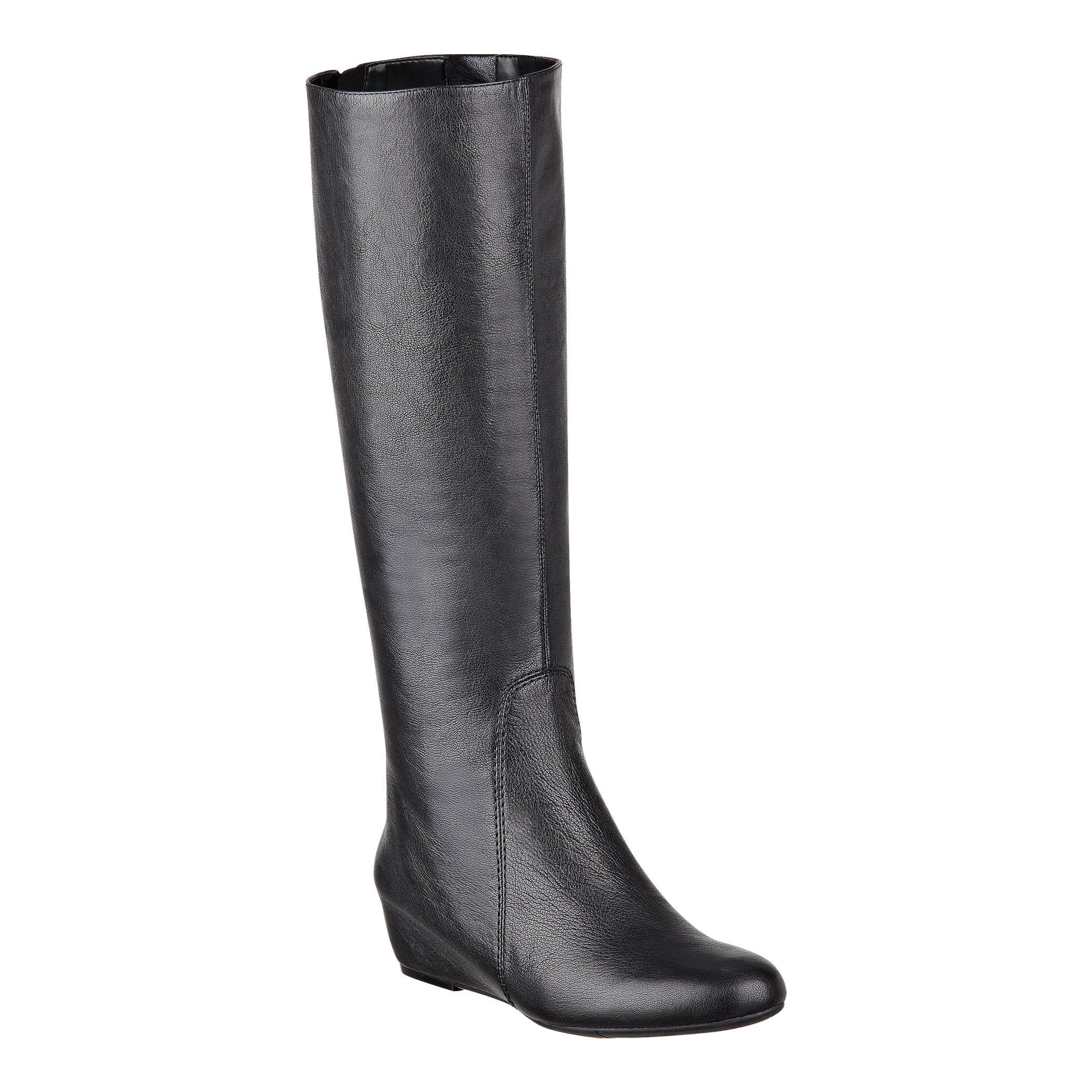 nine west myrtle wedge boots in black black leather lyst