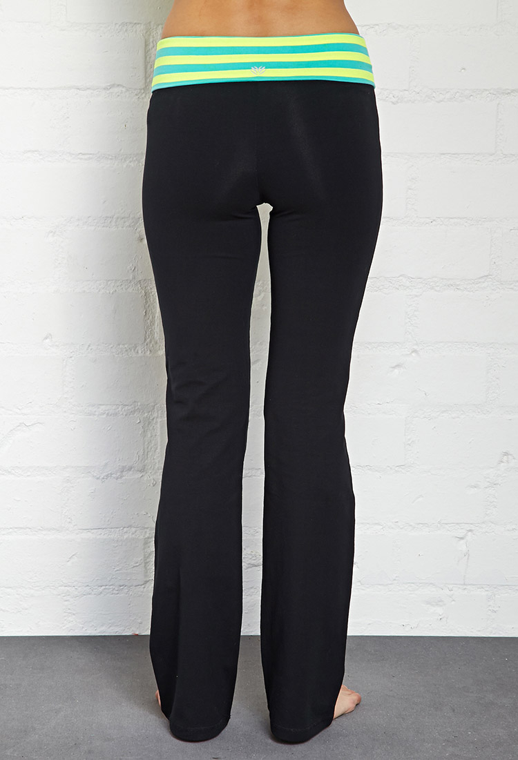 Forever 21 Active Striped Fit & Flare Yoga Pants in Black | Lyst