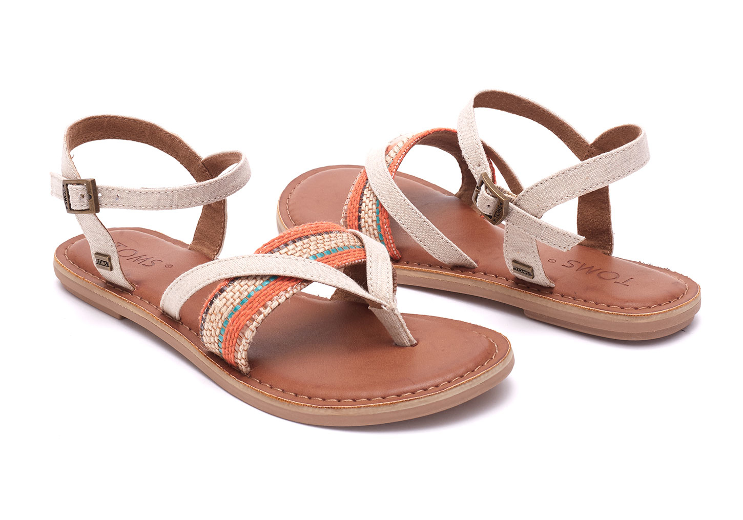 32c3ef62c86 Lyst - TOMS Natural Multi Woven Stripe Women s Lexie Sandals in Natural