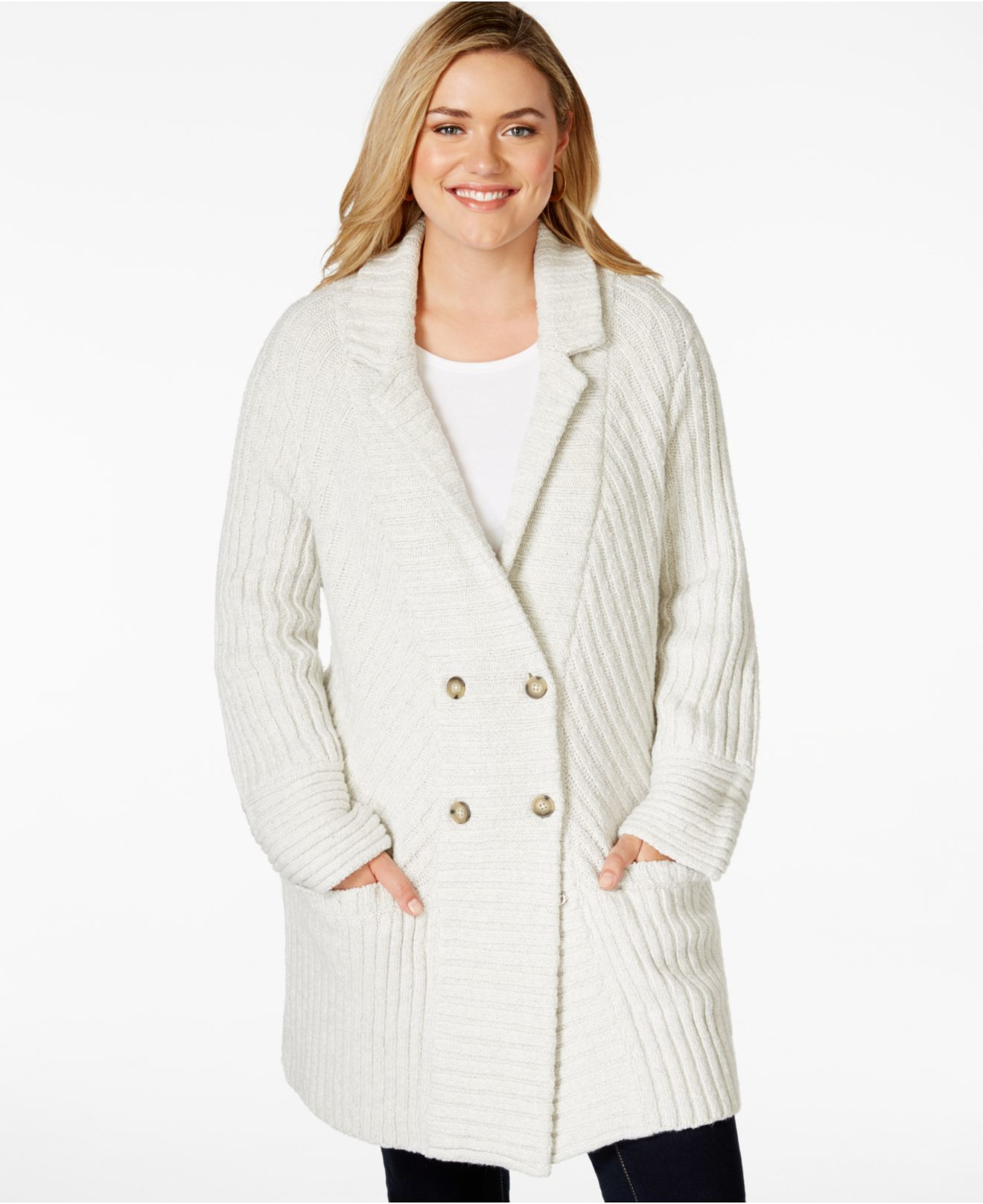Lucky brand Plus Size Rib-knit Sweater Coat in Natural | Lyst