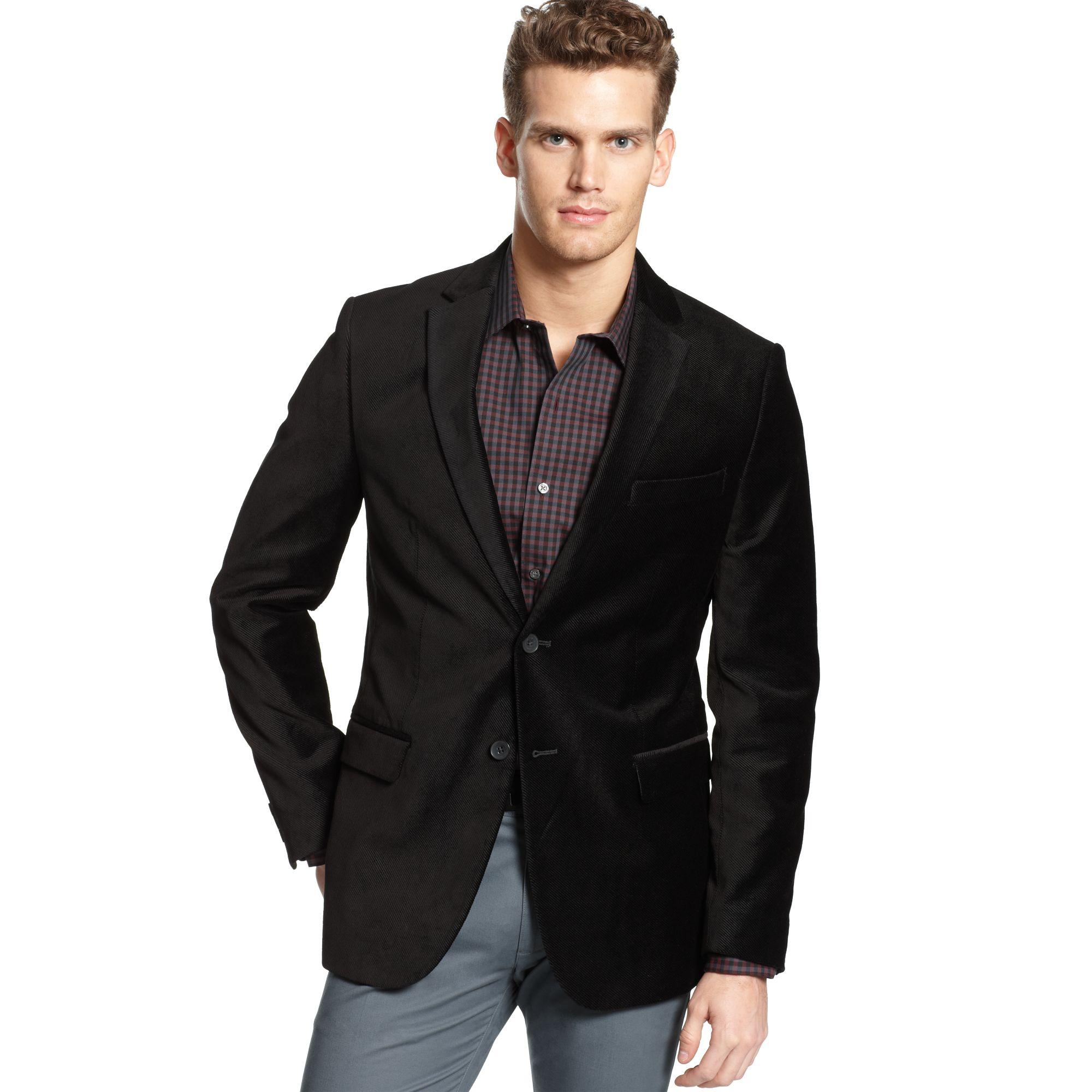 Lyst - Calvin Klein Velvet Blazer In Black For Men