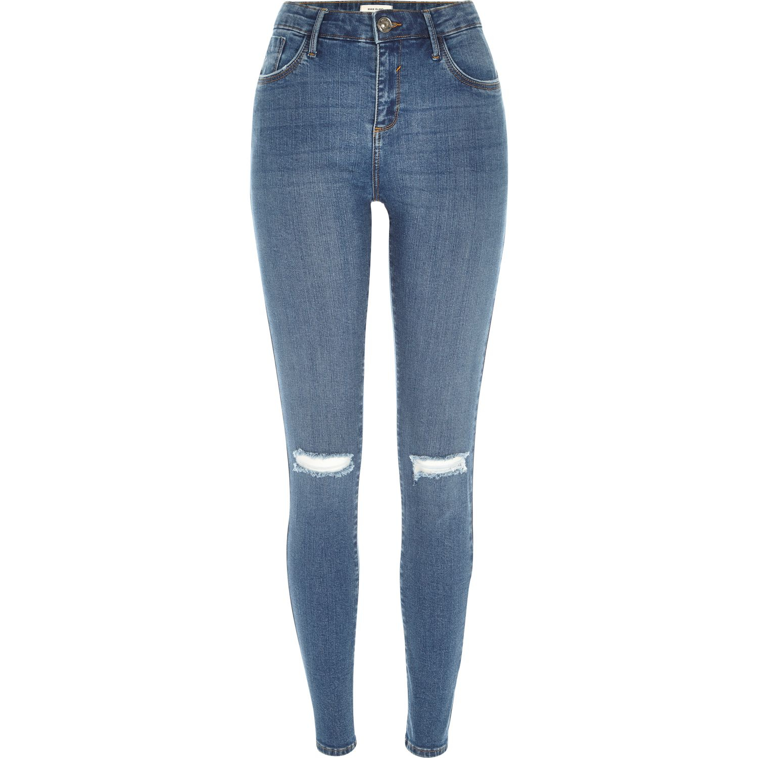 river island mid wash ripped amelie superskinny jeans in
