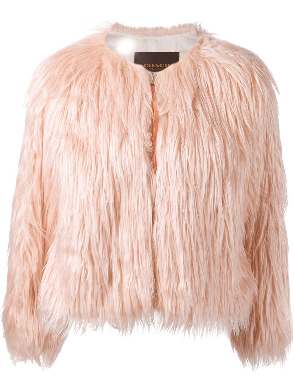 Coach Cropped Fluffy Jacket in Pink | Lyst
