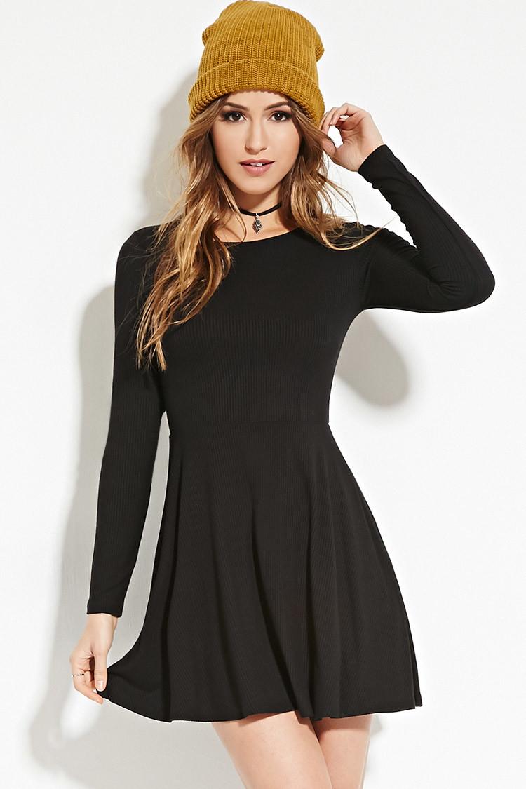 Forever 21 Ribbed Knit Skater Dress in Black | Lyst