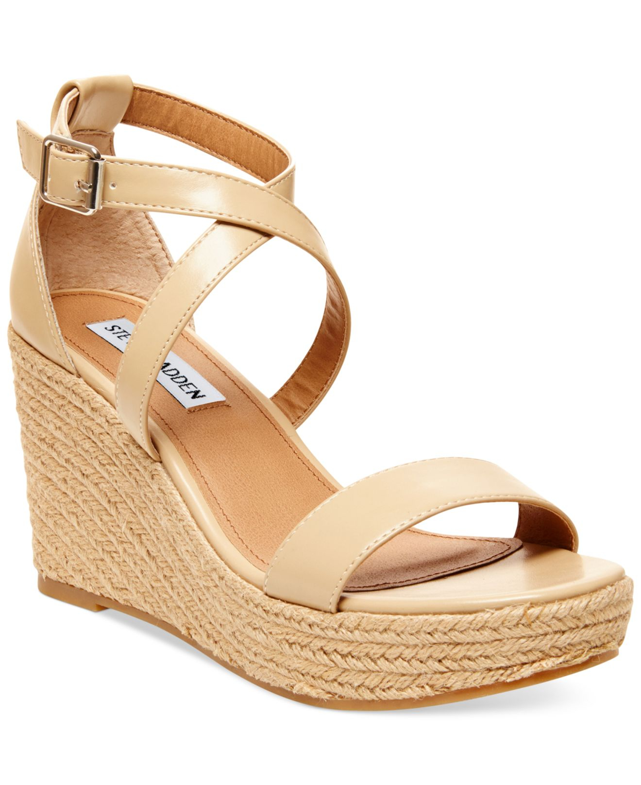 9e681afc77a7 Lyst - Steve Madden Women s Montaukk Platform Wedge Sandals in Natural