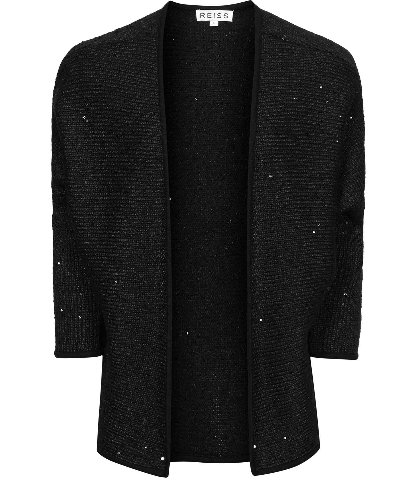 Reiss Louisa Sequin Embellished Cardigan in Black | Lyst