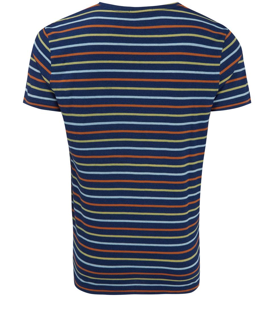 oliver spencer navy multi stripe cotton tshirt in blue for. Black Bedroom Furniture Sets. Home Design Ideas