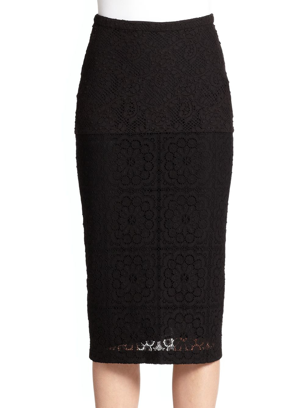 burberry prorsum crochet lace pencil skirt in black lyst