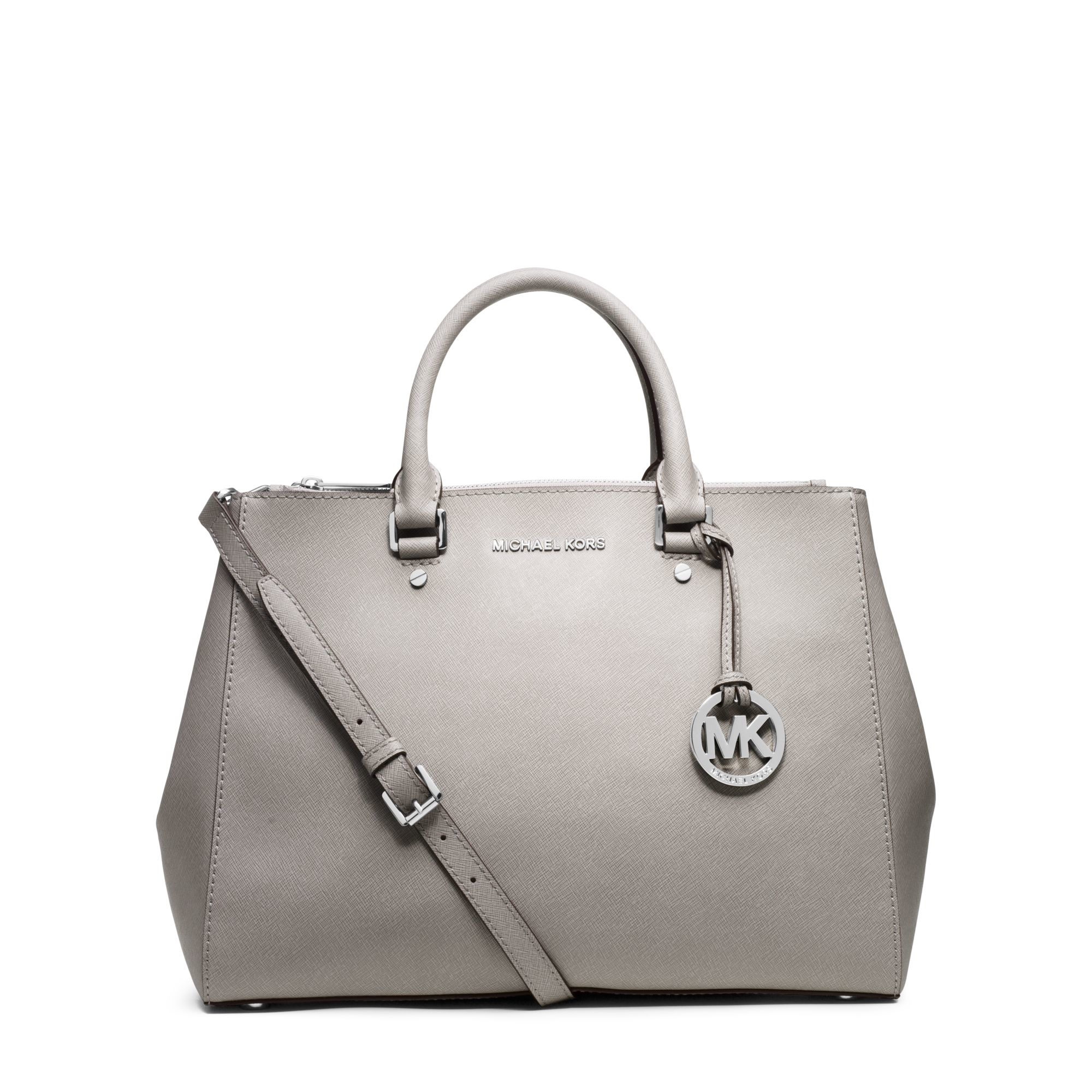 b0b9d78003ae ... get lyst michael kors sutton saffiano leather satchel in white ba4ee  9a3a1
