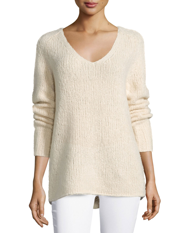 lyst donna karan v neck cashmere blend sweater in natural. Black Bedroom Furniture Sets. Home Design Ideas