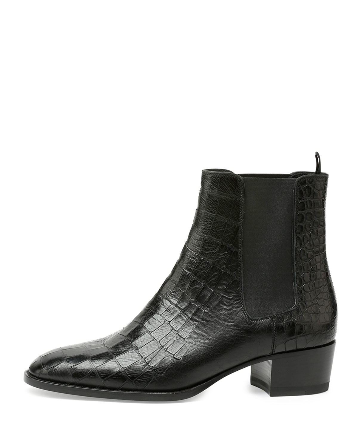 Saint Laurent Blake Croc Embossed Leather Ankle Boot In