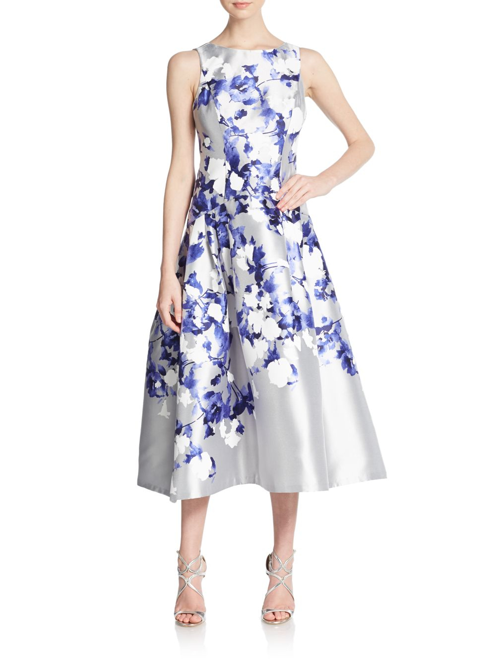 Lyst Kay Unger Floral Print Drop Waist Dress In Blue