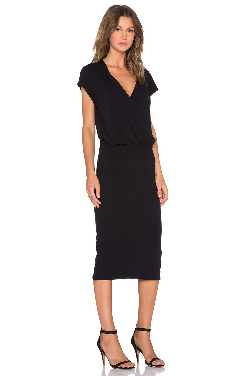 d72e21b726c Lyst - James Perse Sleeveless Wrap Dress in Black