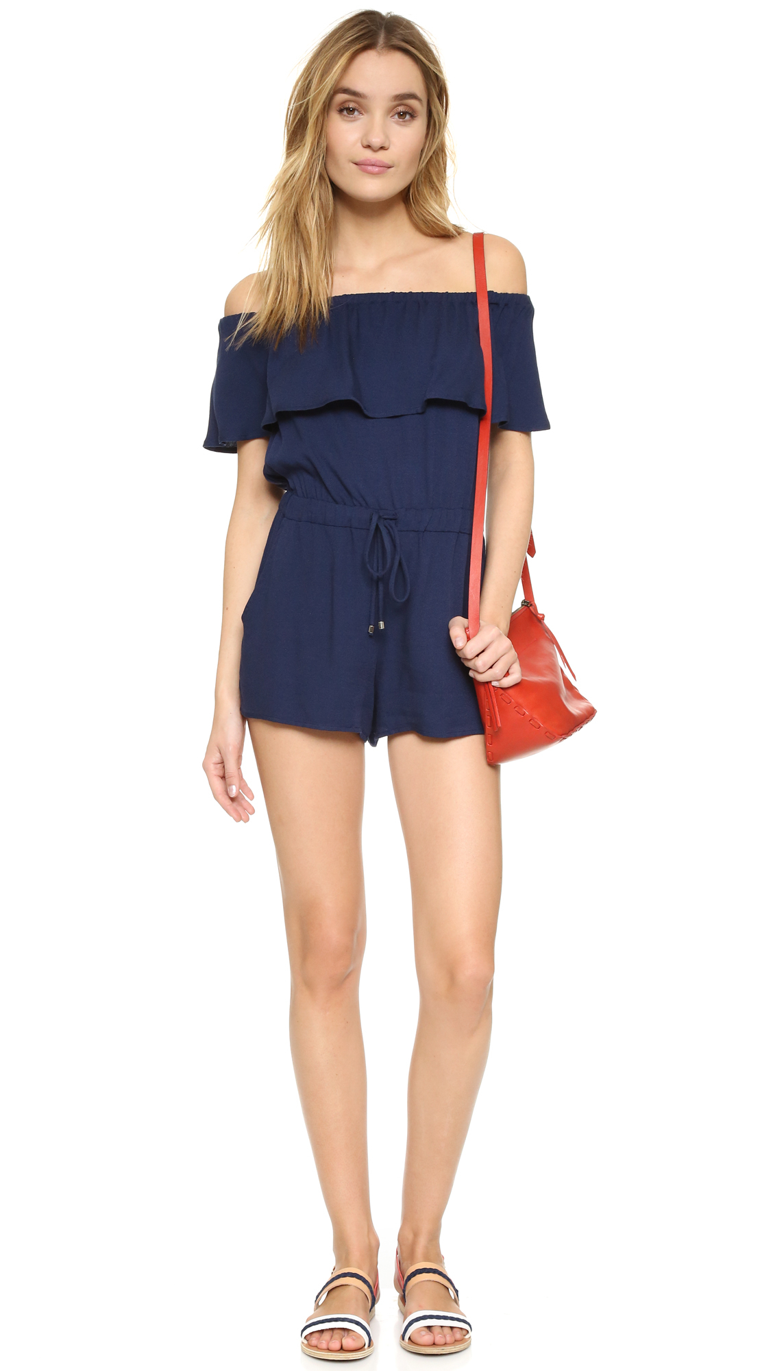 ad650991ca2 Lyst - Ella Moss Stella Off Shoulder Romper in Blue