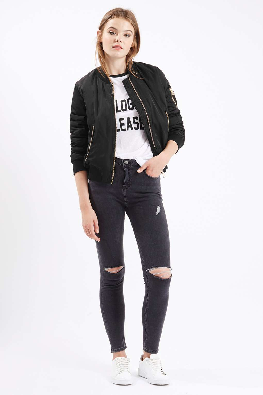 Topshop Petite Ma1 Bomber Jacket in Black | Lyst