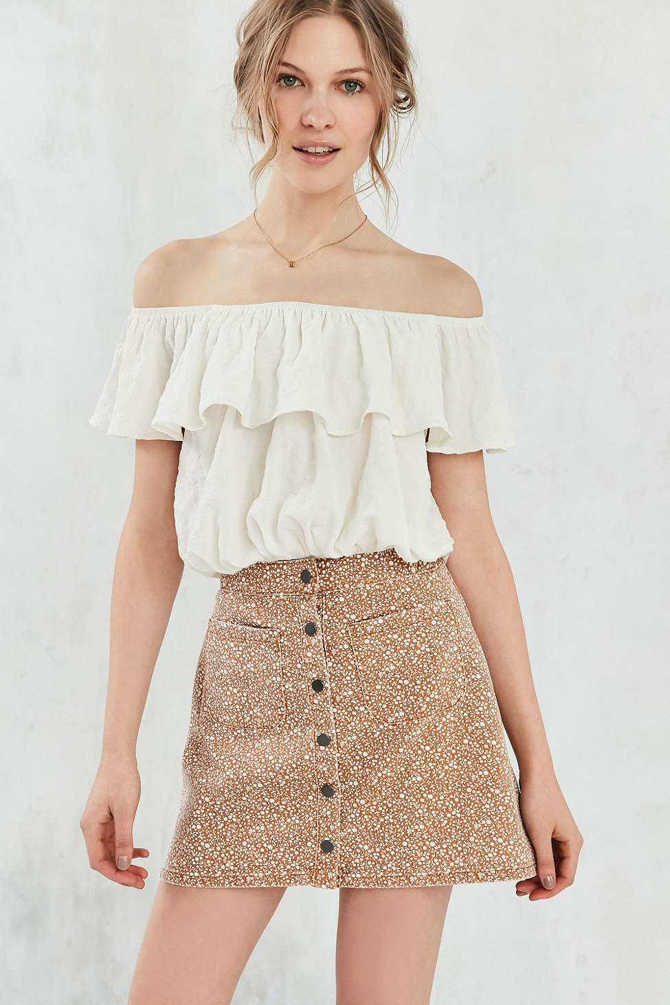 cc0757eeb Lyst - BDG Tilly Printed Twill A-line Skirt in Brown