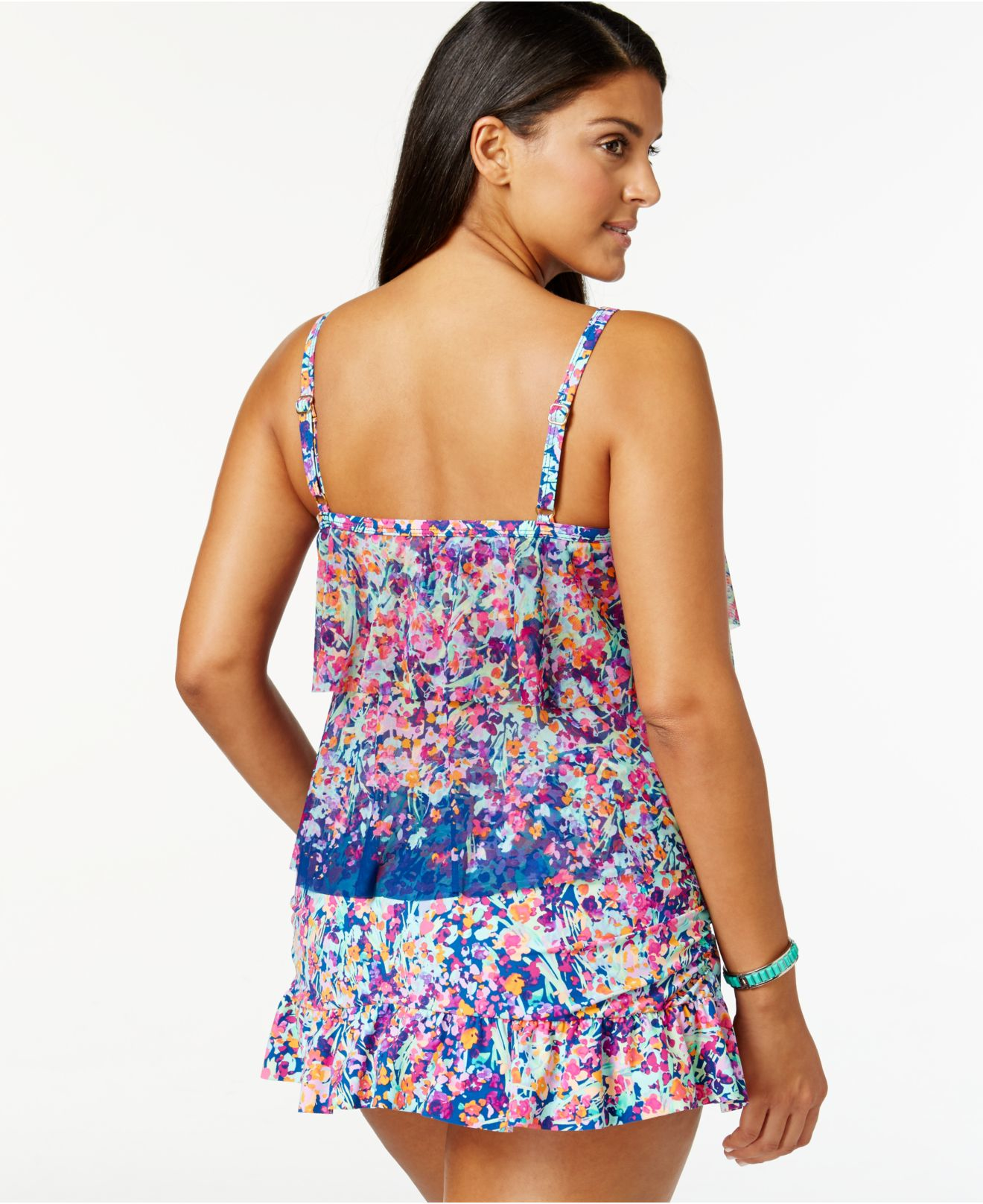 kenneth cole reaction plus size tiered mesh tankini top in blue | lyst