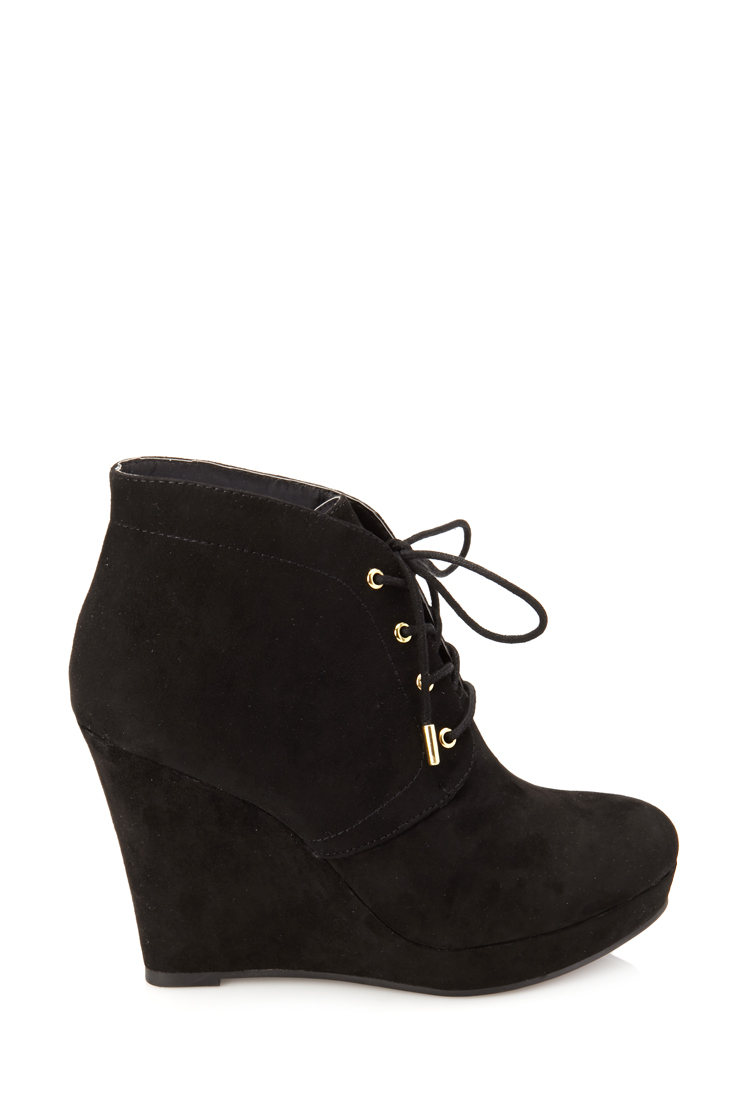 lyst forever 21 laceup wedge booties in black