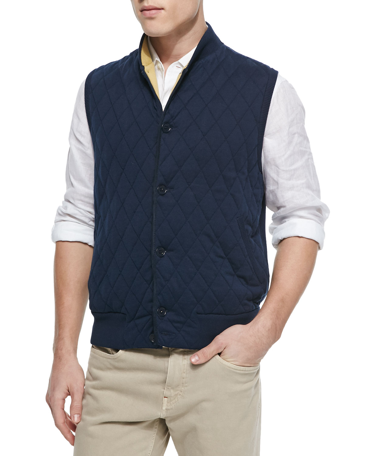 Loro piana Quilted Button-front Sweater Vest in Blue for Men | Lyst