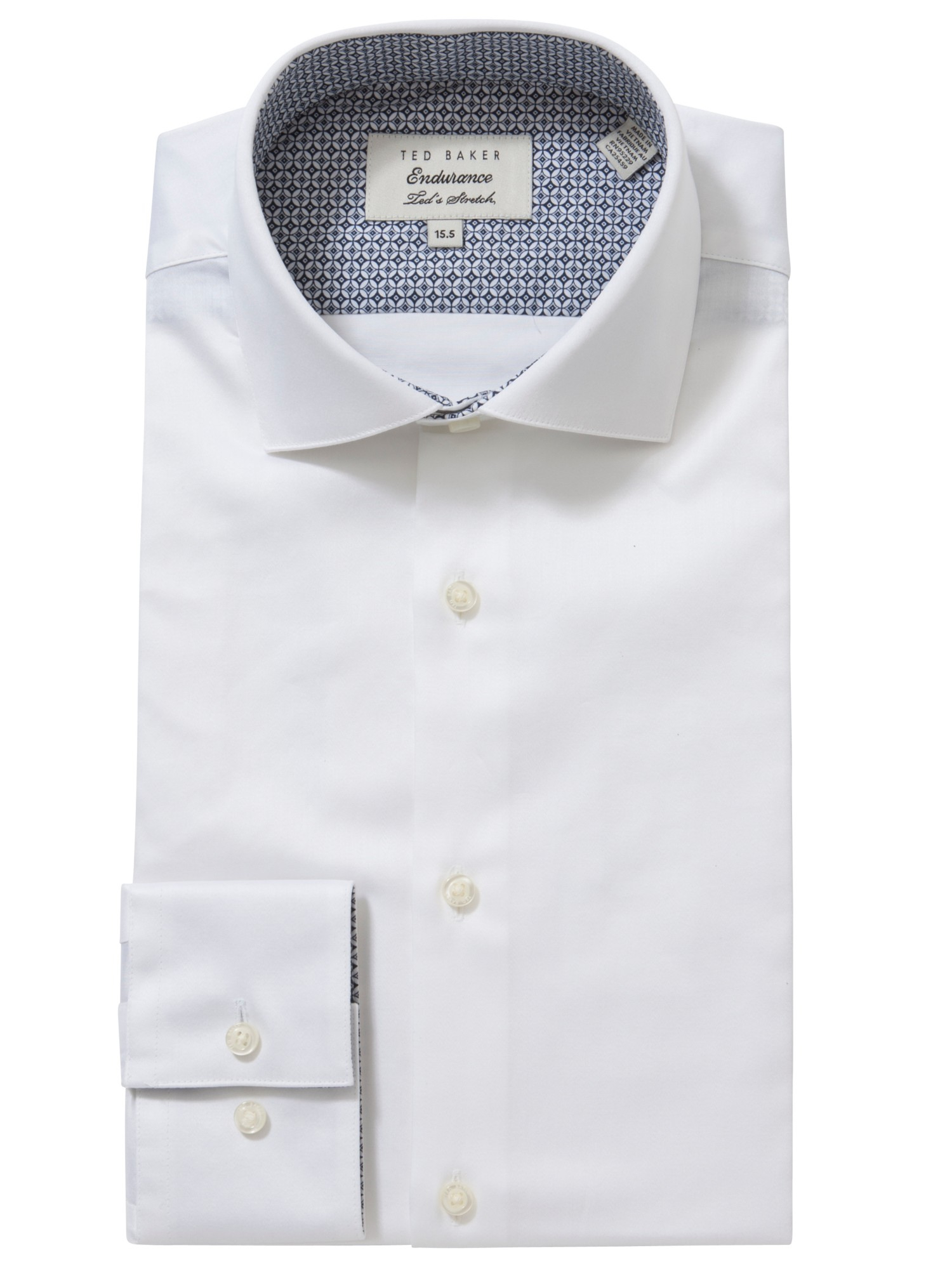 77c8cea4561fb Ted Baker Rosecol Penny Collar Shirt in White for Men - Lyst