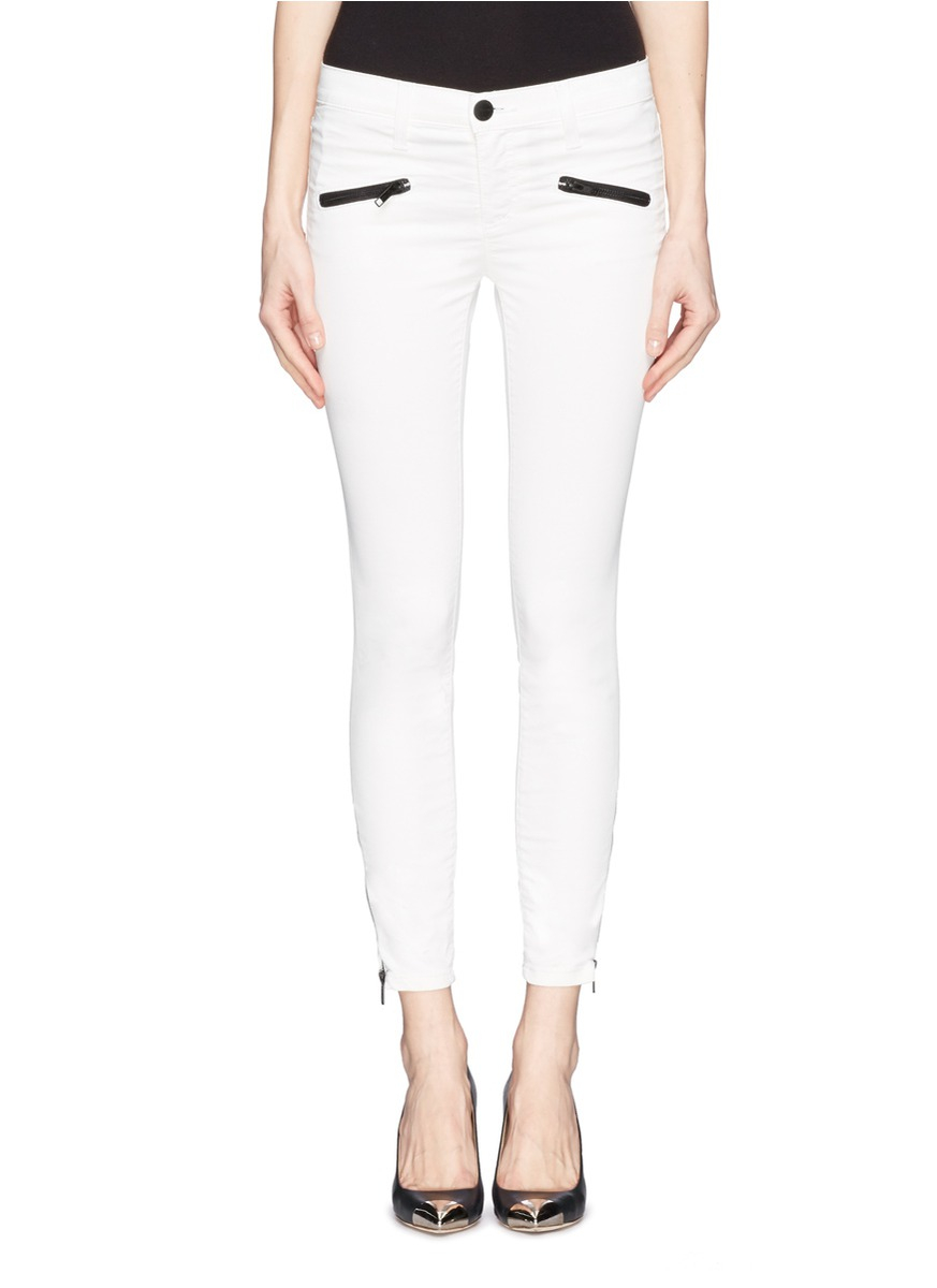 Current/elliott The Soho Zip Stiletto Coated Skinny Jeans in White ...