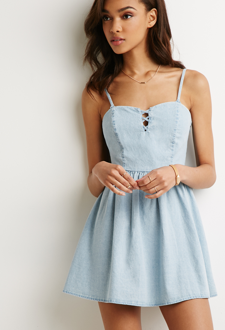 60c78c432ef4 Forever 21 Lace-Up Chambray Skater Dress in Blue - Lyst