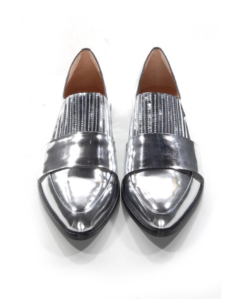 e68ab022fad Lyst - Loeffler Randall Rosa Silver Loafer in Metallic
