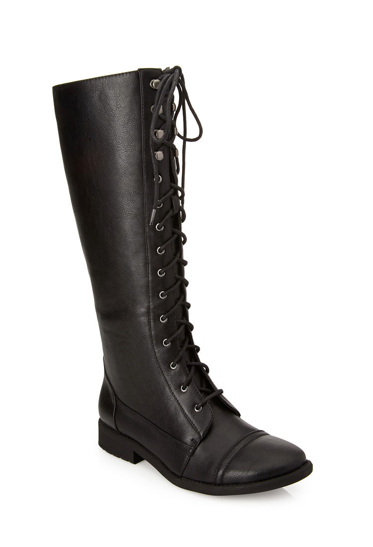 forever 21 lace up knee high boots in black