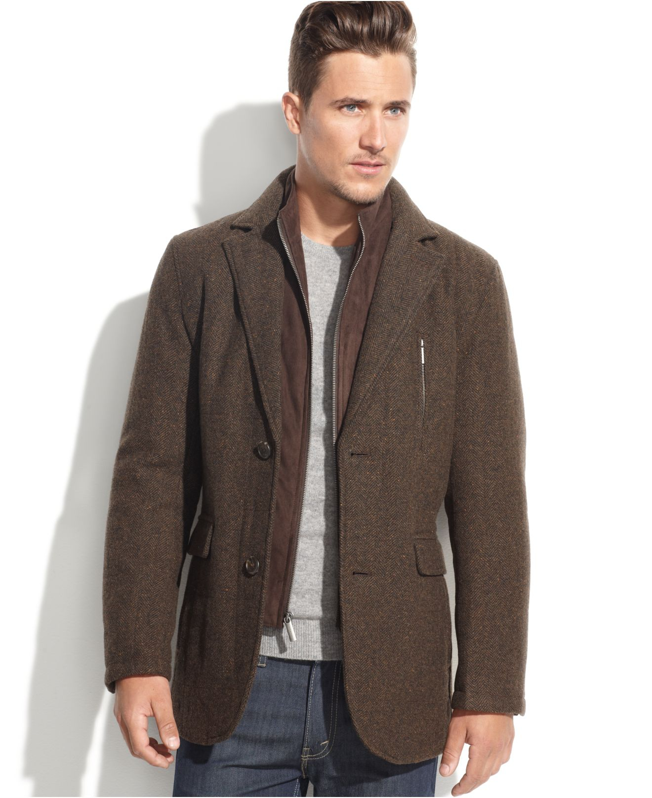 London fog Lebanon Wool-Blend Microsuede-Bib Tweed Blazer in Brown ...