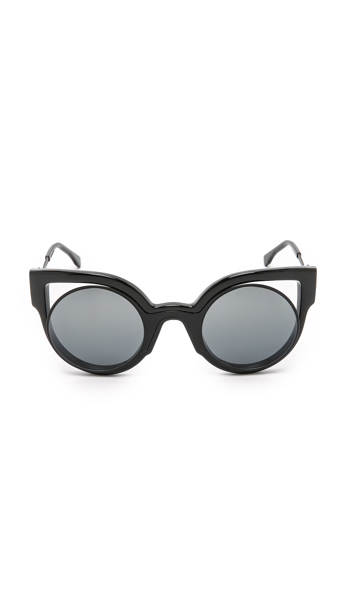 Sunglasses Cutout  fendi round cutout sunglasses in black lyst
