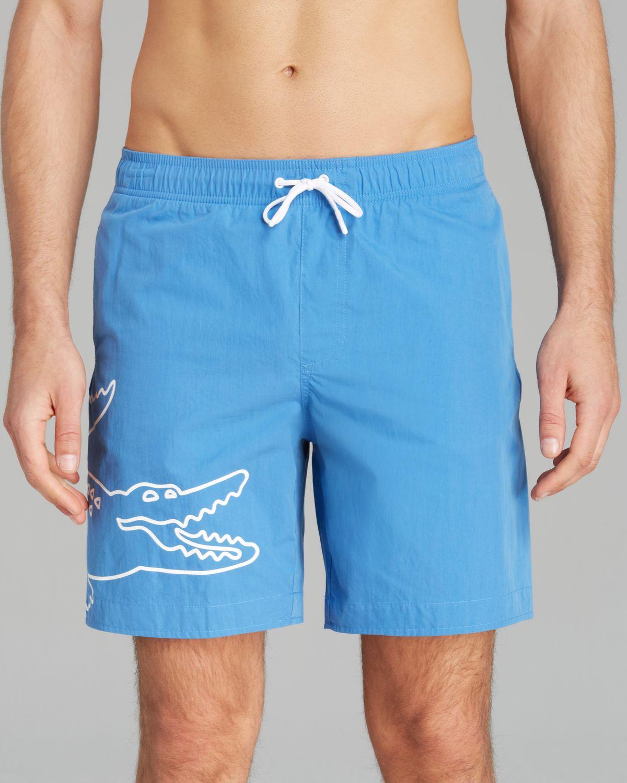 7864c954c8f4 Lyst - Lacoste Big Croc Swim Trunks in Blue for Men