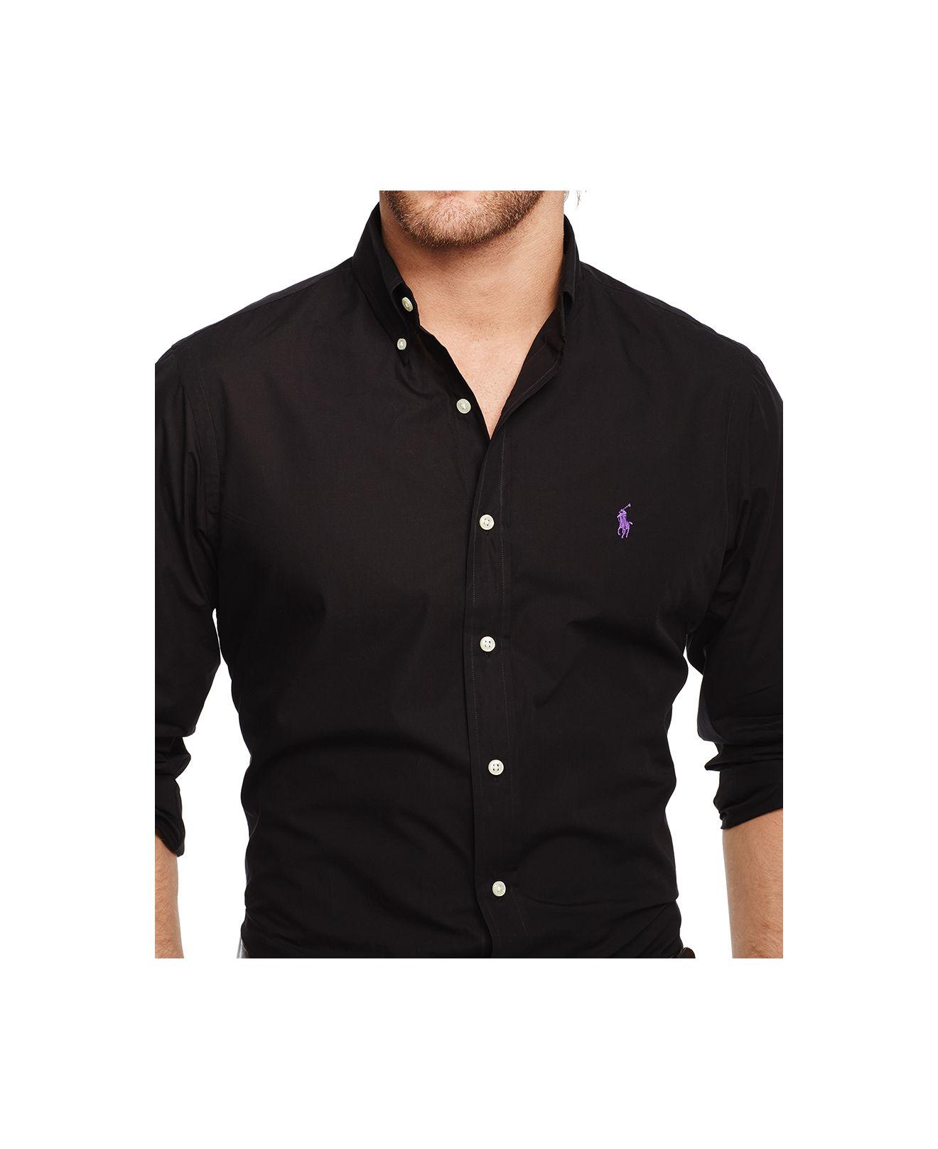 polo ralph lauren men 39 s slim fit poplin shirt in black for. Black Bedroom Furniture Sets. Home Design Ideas