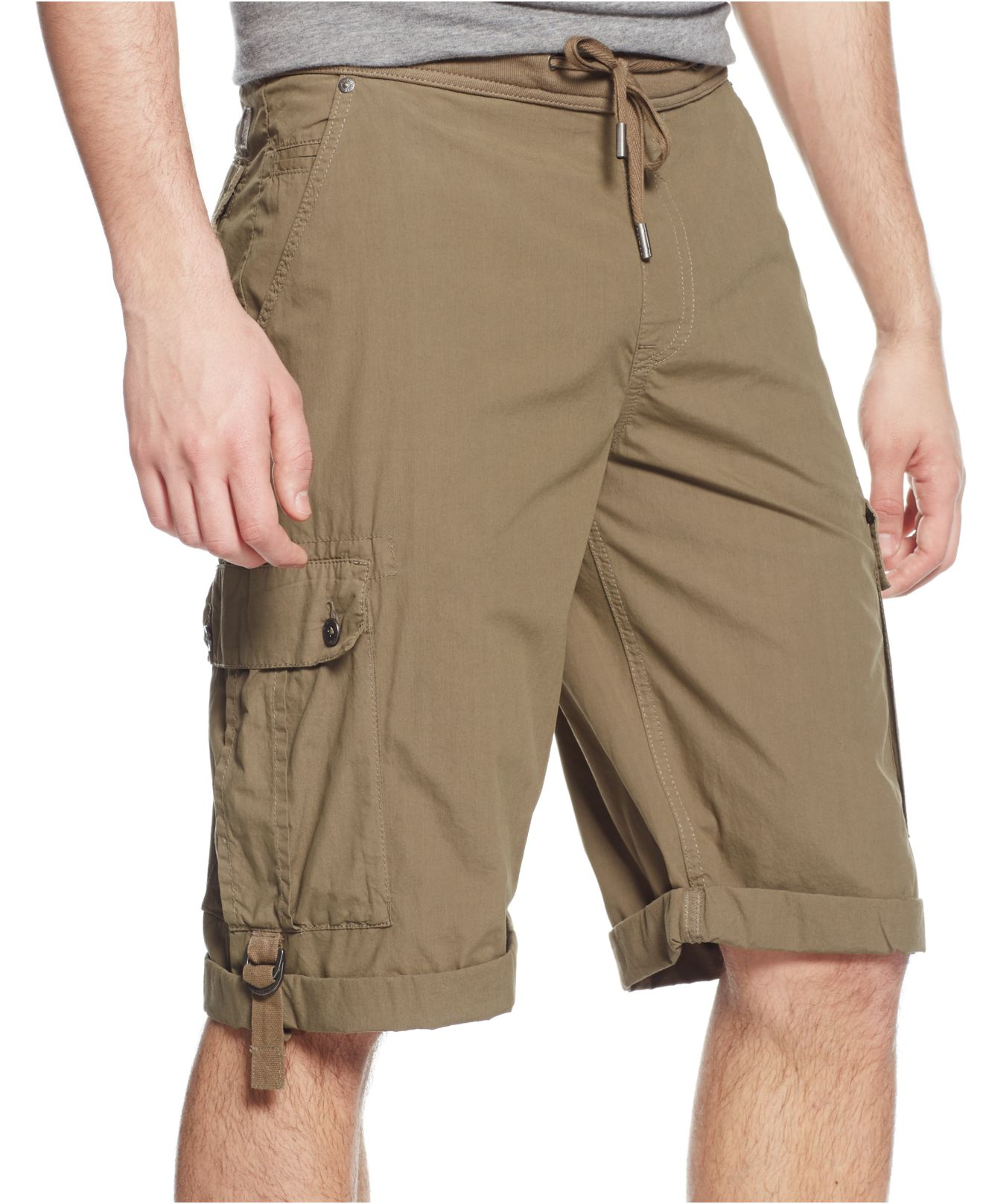 Guess Ribbed-waist Cargo Shorts in Brown for Men | Lyst