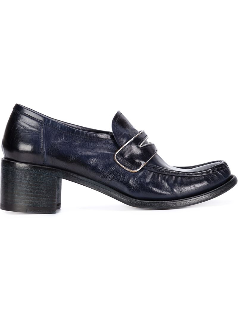 Silvano sassetti Chunky Heel Leather Penny Loafers in Blue | Lyst