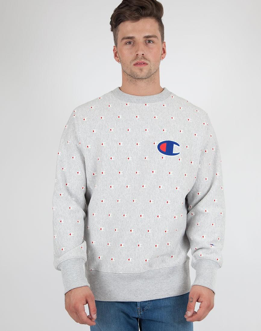 Champion Reverse Weave Crew Neck Sweatshirt Grey in Gray for Men ...