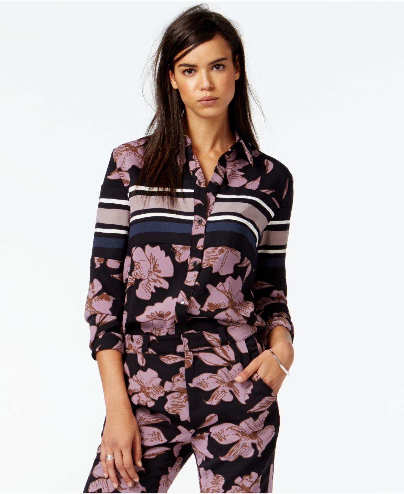 e7e2ea86fa8e47 RACHEL Rachel Roy Long-sleeve Mixed-print Shirt in Black - Lyst