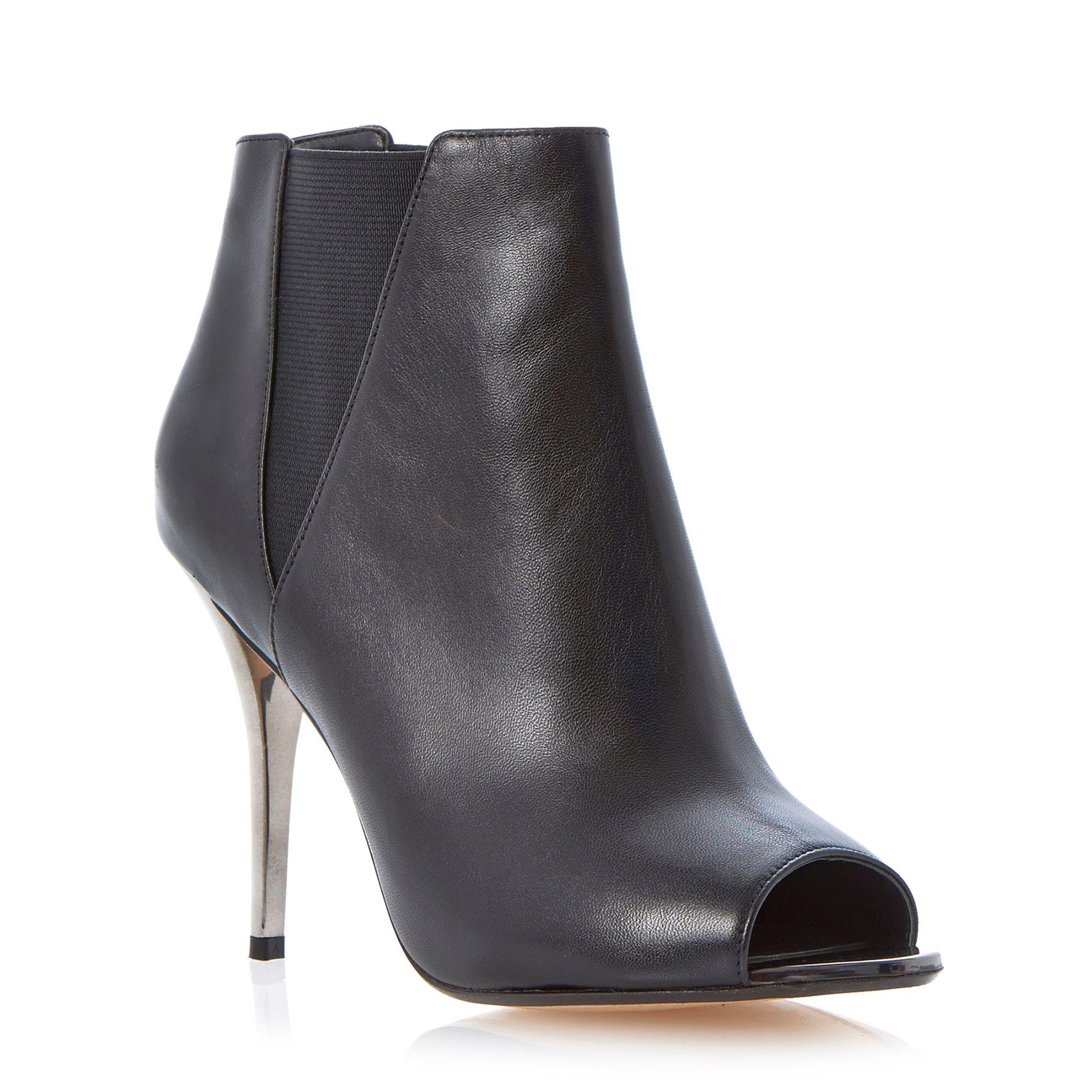 dune cynthia peep toe shoe boot in black black leather
