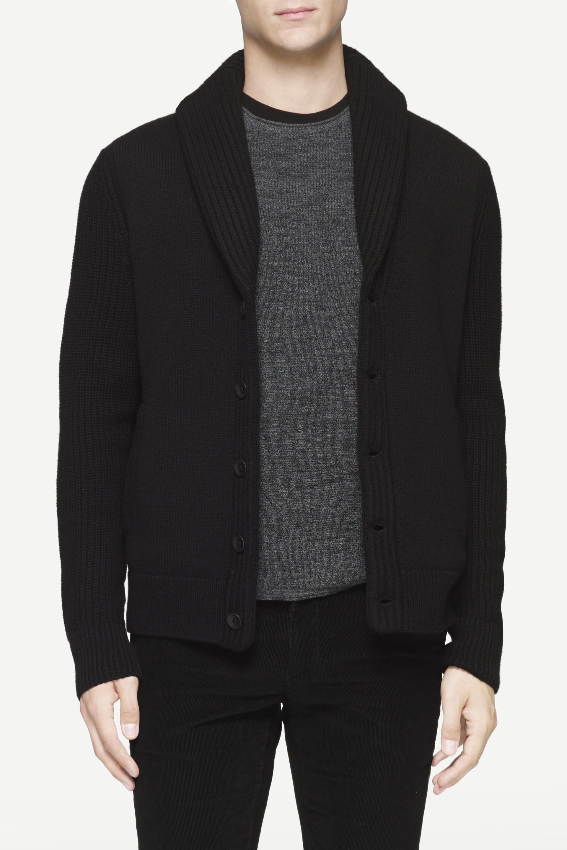 Rag & bone Curtis Shawl Cardigan in Black for Men | Lyst
