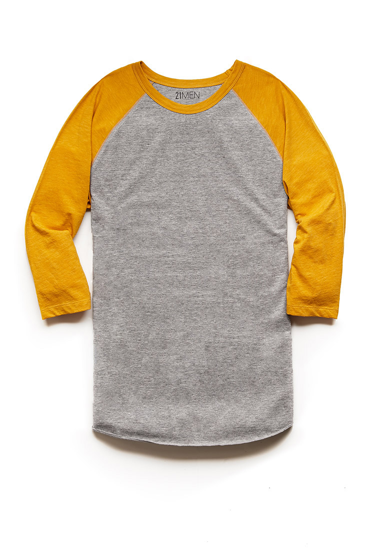 d36dc59d Forever 21 Colorblock Heathered Baseball Tee 21 Men in Yellow for ...