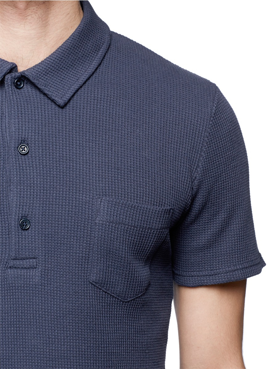 Lyst hardy amies waffle knit polo shirt in blue for men for Knitted polo shirt mens